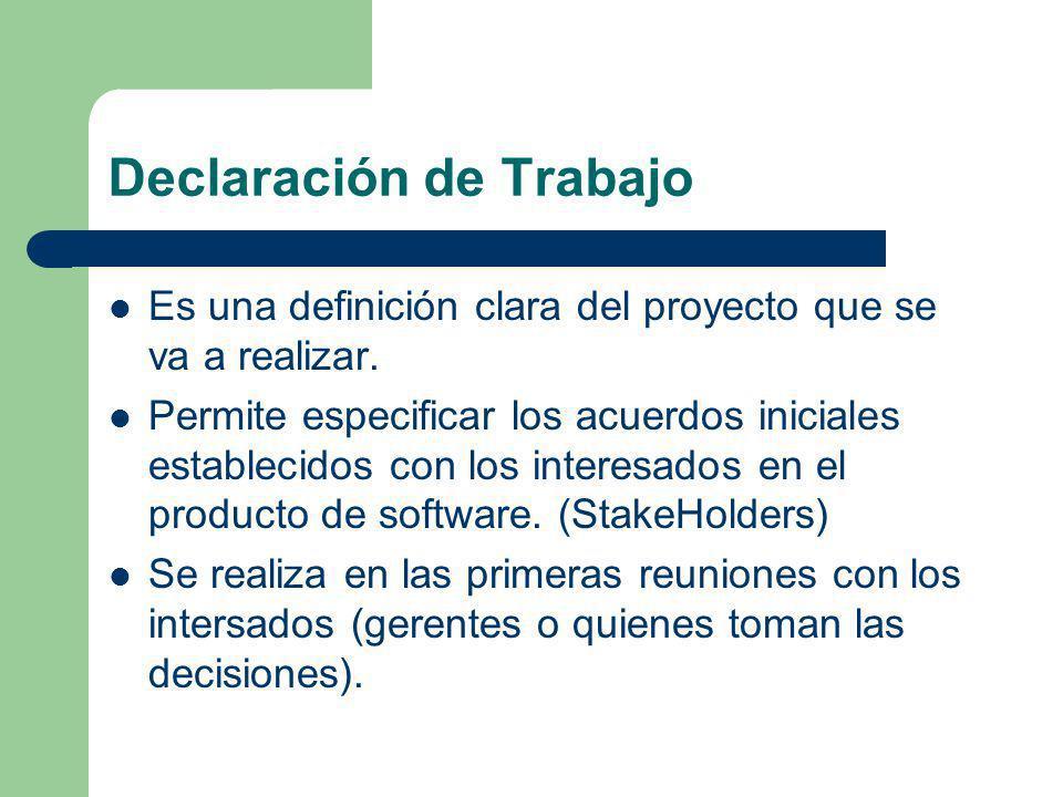 Declaración de Trabajo Es una definición clara del proyecto que se va a realizar. Permite especificar los acuerdos iniciales establecidos con los inte
