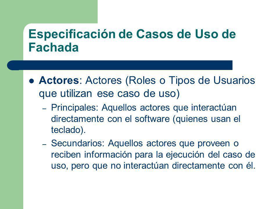 Especificación de Casos de Uso de Fachada Actores: Actores (Roles o Tipos de Usuarios que utilizan ese caso de uso) – Principales: Aquellos actores qu