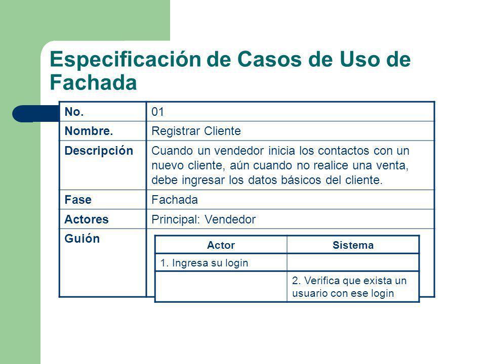 Especificación de Casos de Uso de Fachada No.01 Nombre.Registrar Cliente DescripciónCuando un vendedor inicia los contactos con un nuevo cliente, aún