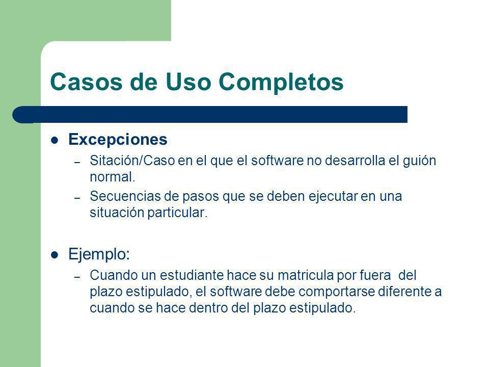 Casos de Uso Completos Excepciones – Sitación/Caso en el que el software no desarrolla el guión normal. – Secuencias de pasos que se deben ejecutar en