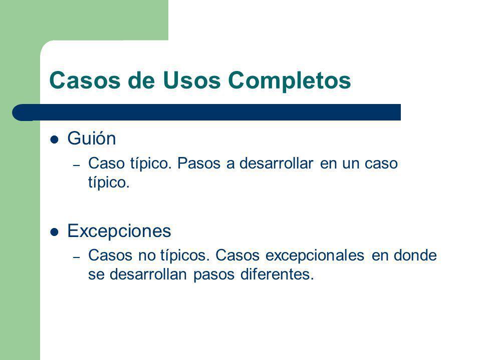 Casos de Usos Completos Guión – Caso típico. Pasos a desarrollar en un caso típico. Excepciones – Casos no típicos. Casos excepcionales en donde se de