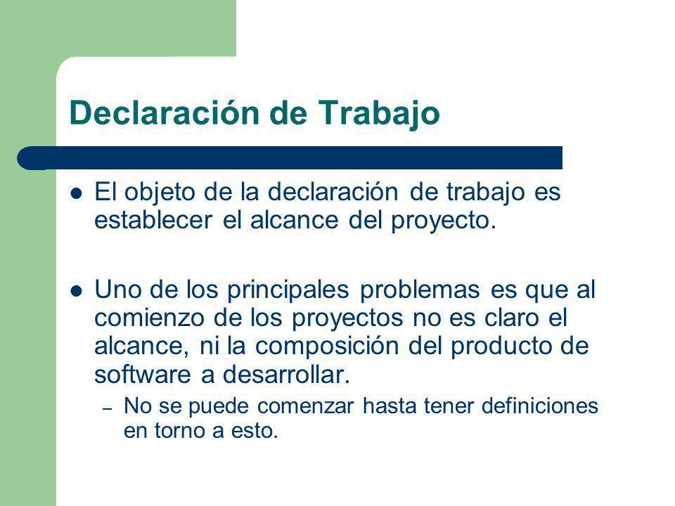 Declaración de Trabajo El objeto de la declaración de trabajo es establecer el alcance del proyecto. Uno de los principales problemas es que al comien