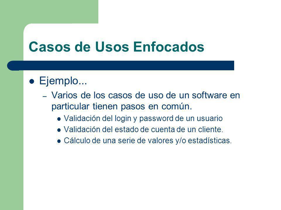 Casos de Usos Enfocados Ejemplo... – Varios de los casos de uso de un software en particular tienen pasos en común. Validación del login y password de