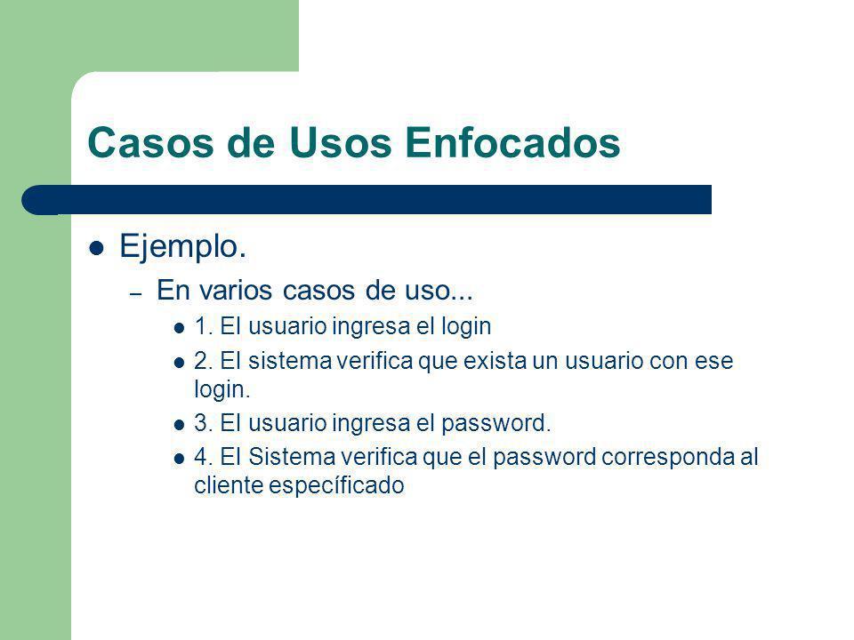 Casos de Usos Enfocados Ejemplo. – En varios casos de uso... 1. El usuario ingresa el login 2. El sistema verifica que exista un usuario con ese login