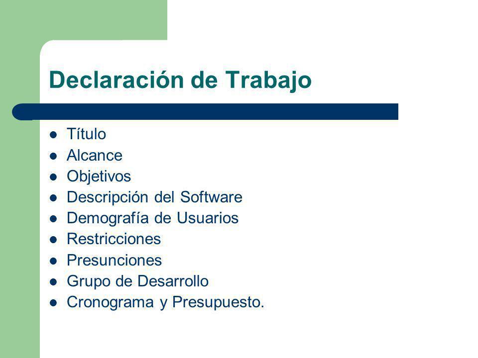 Declaración de Trabajo Título Alcance Objetivos Descripción del Software Demografía de Usuarios Restricciones Presunciones Grupo de Desarrollo Cronogr