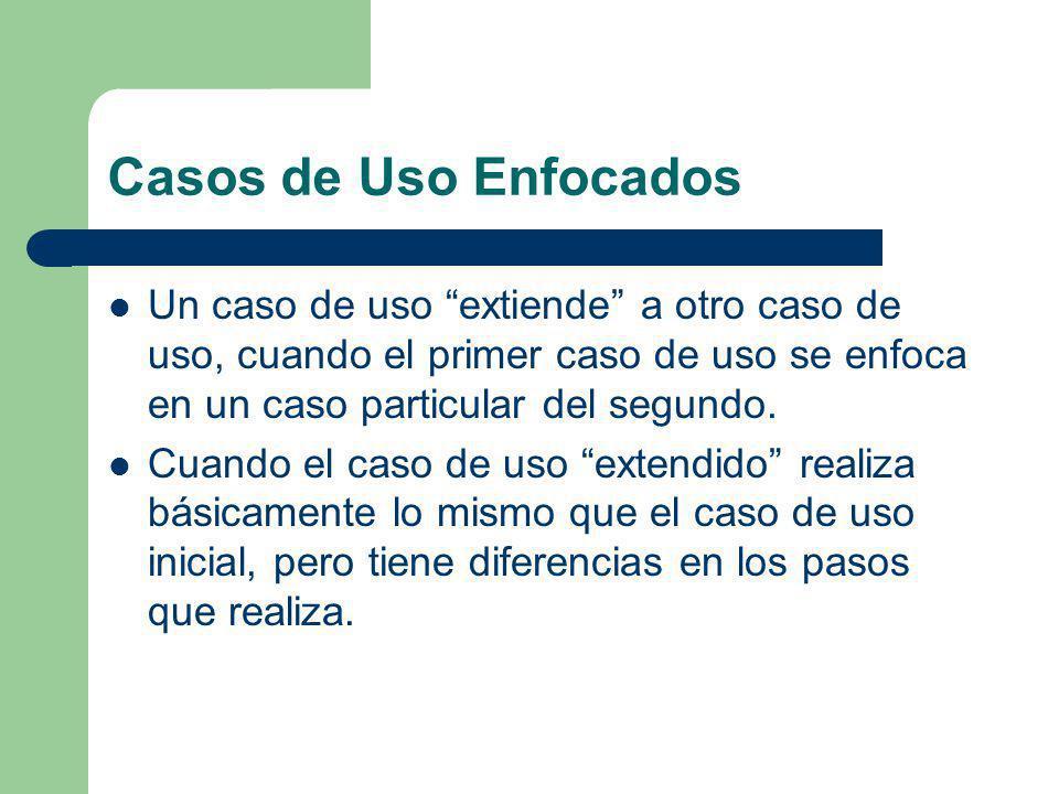 Casos de Uso Enfocados Un caso de uso extiende a otro caso de uso, cuando el primer caso de uso se enfoca en un caso particular del segundo. Cuando el