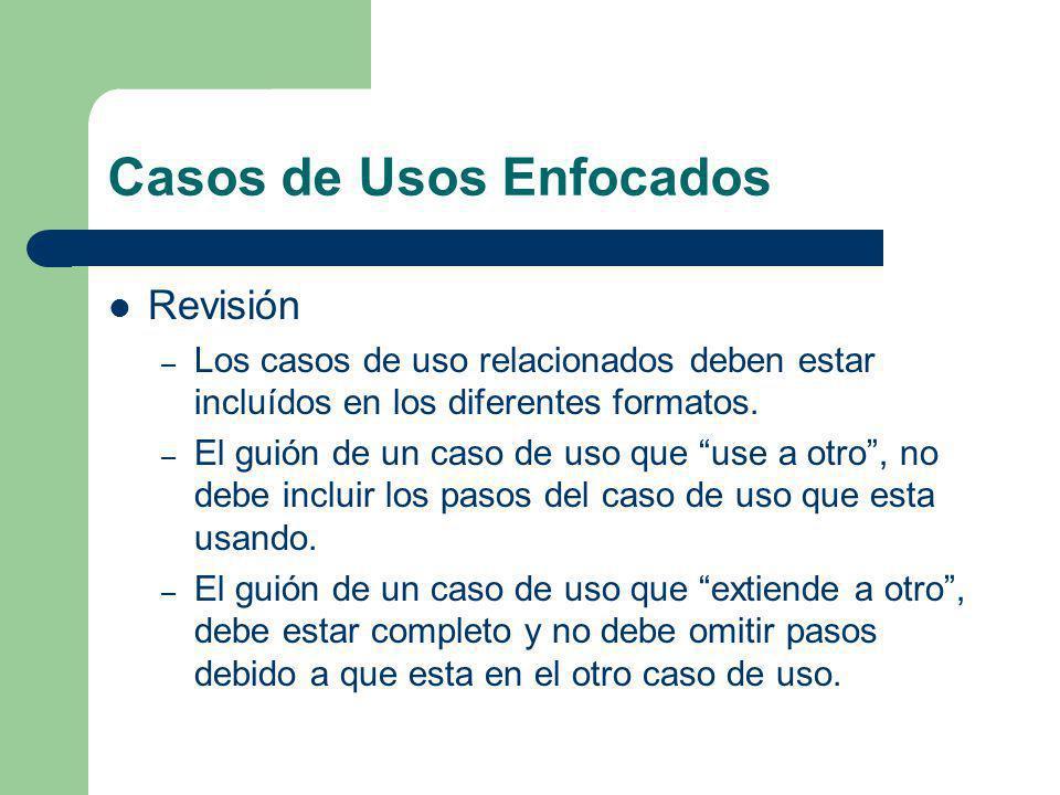 Casos de Usos Enfocados Revisión – Los casos de uso relacionados deben estar incluídos en los diferentes formatos. – El guión de un caso de uso que us