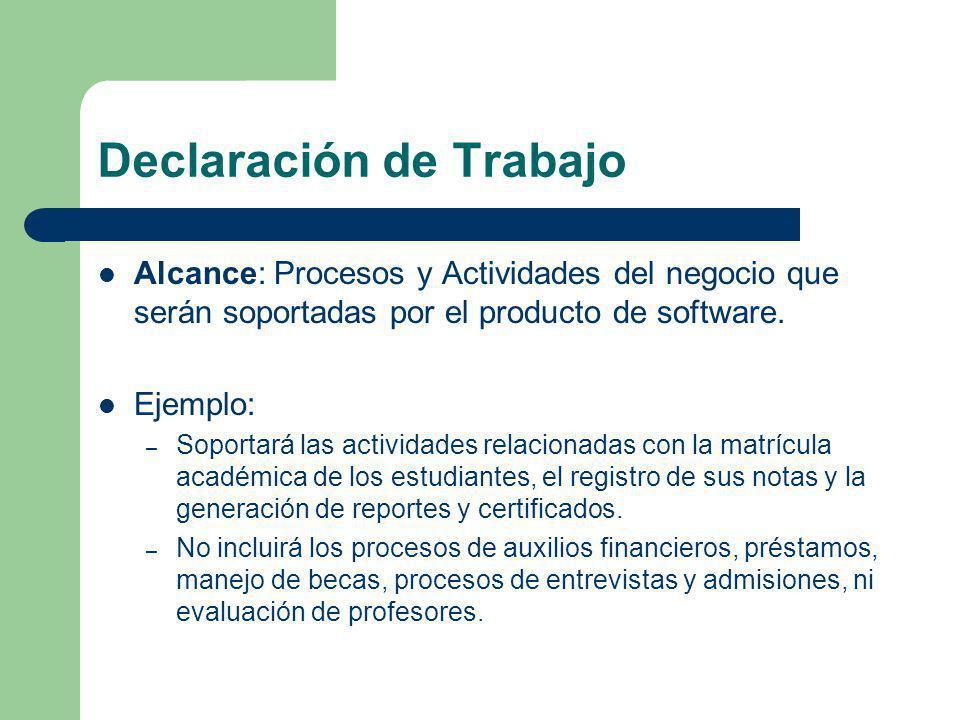 Declaración de Trabajo Alcance: Procesos y Actividades del negocio que serán soportadas por el producto de software. Ejemplo: – Soportará las activida