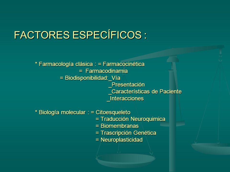 FACTORES INESPECÍFICOS : Acciones sobre los receptores sinápticos que a diferencia de otros medicamentos están influidos por factores emocionales, afe