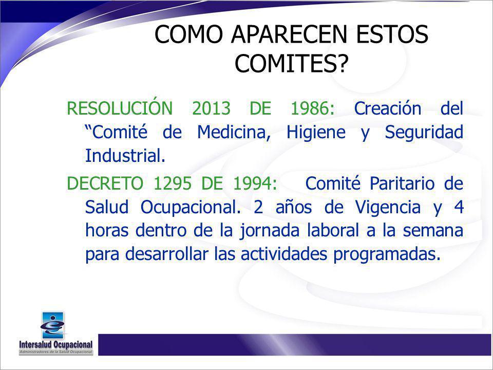 COMO APARECEN ESTOS COMITES? RESOLUCIÓN 2013 DE 1986: Creación del Comité de Medicina, Higiene y Seguridad Industrial. DECRETO 1295 DE 1994: Comité Pa