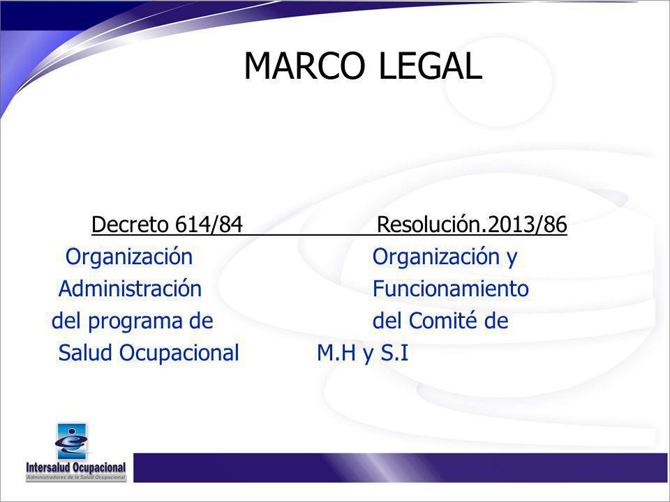 Decreto 614/84 Resolución.2013/86 Organización Organización y Administración Funcionamiento del programa de del Comité de Salud Ocupacional M.H y S.I