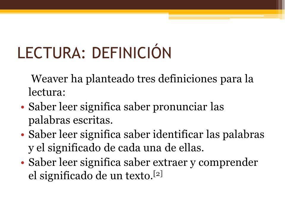 LECTURA: DEFINICIÓN Weaver ha planteado tres definiciones para la lectura: Saber leer significa saber pronunciar las palabras escritas. Saber leer sig