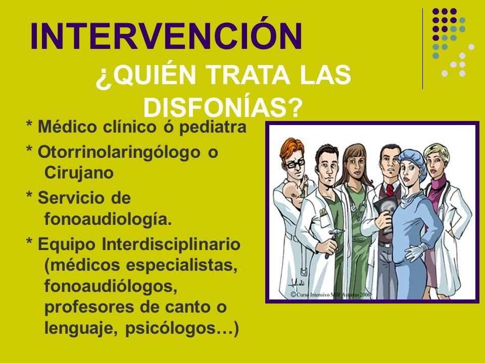 INTERVENCIÓN * Médico clínico ó pediatra * Otorrinolaringólogo o Cirujano * Servicio de fonoaudiología. * Equipo Interdisciplinario (médicos especiali