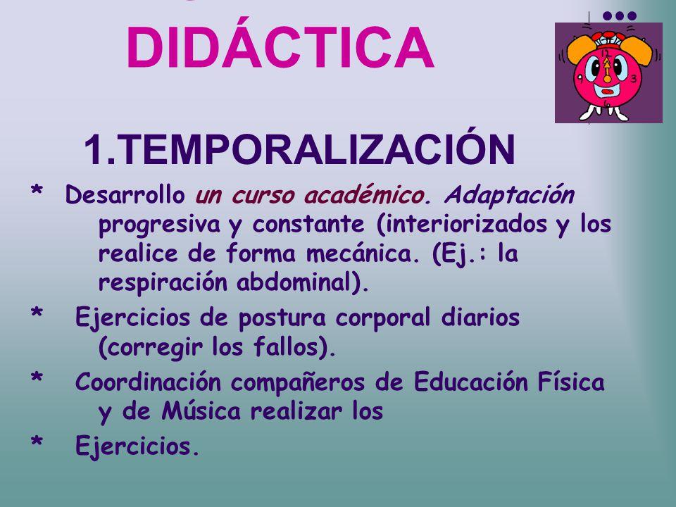 UNIDAD DIDÁCTICA 1.TEMPORALIZACIÓN * Desarrollo un curso académico. Adaptación progresiva y constante (interiorizados y los realice de forma mecánica.