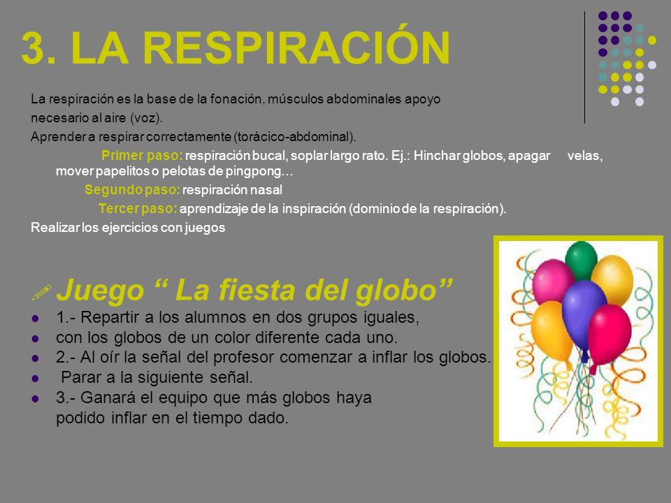 3. LA RESPIRACIÓN La respiración es la base de la fonación, músculos abdominales apoyo necesario al aire (voz). Aprender a respirar correctamente (tor