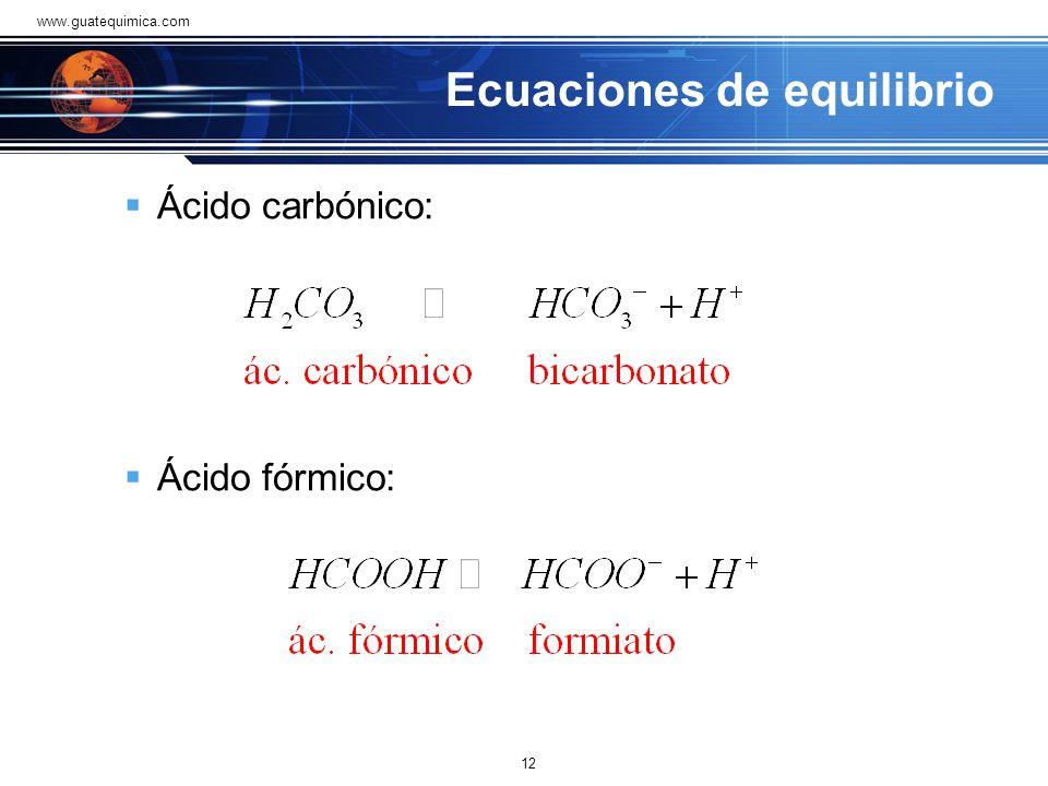 Ecuaciones de equilibrio A continuación se muestran las ecuaciones de equilibrio entre el ácido o base débil y su correspondiente ácido o base conjuga