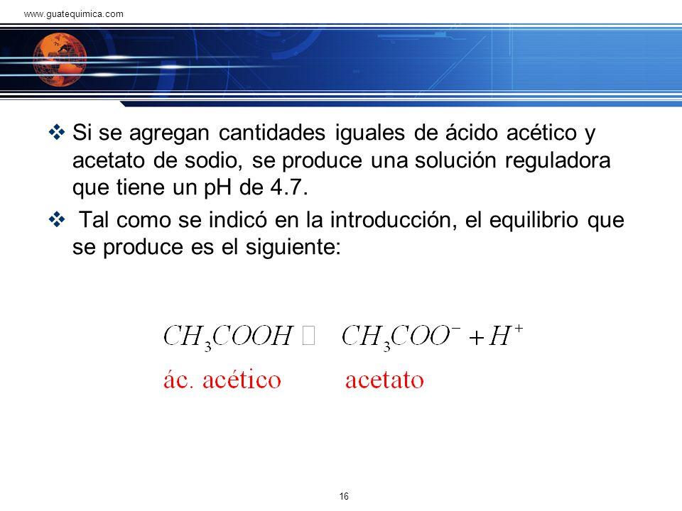 Solución ácido acético-acetato Una solución reguladora que se usa bastante en los laboratorios de química esta constituida por ácido acético (ácido dé