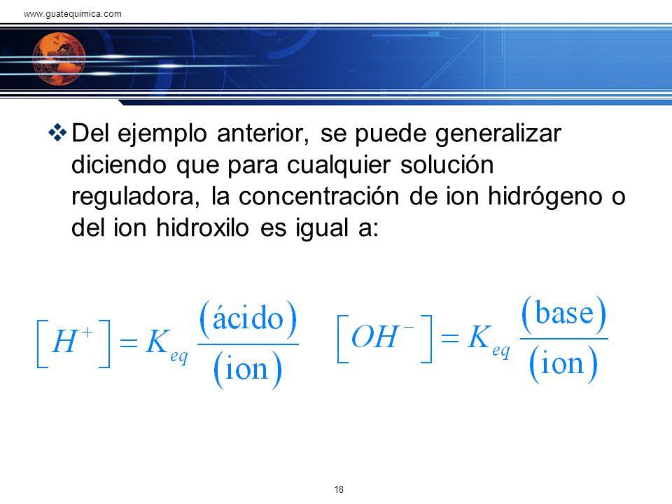 Problema 1 Un ejemplo concreto de esta solución reguladora podría contener 0.1 mol/litro de ácido acético y 0.1 mol/litro de acetato de sodio. Para en