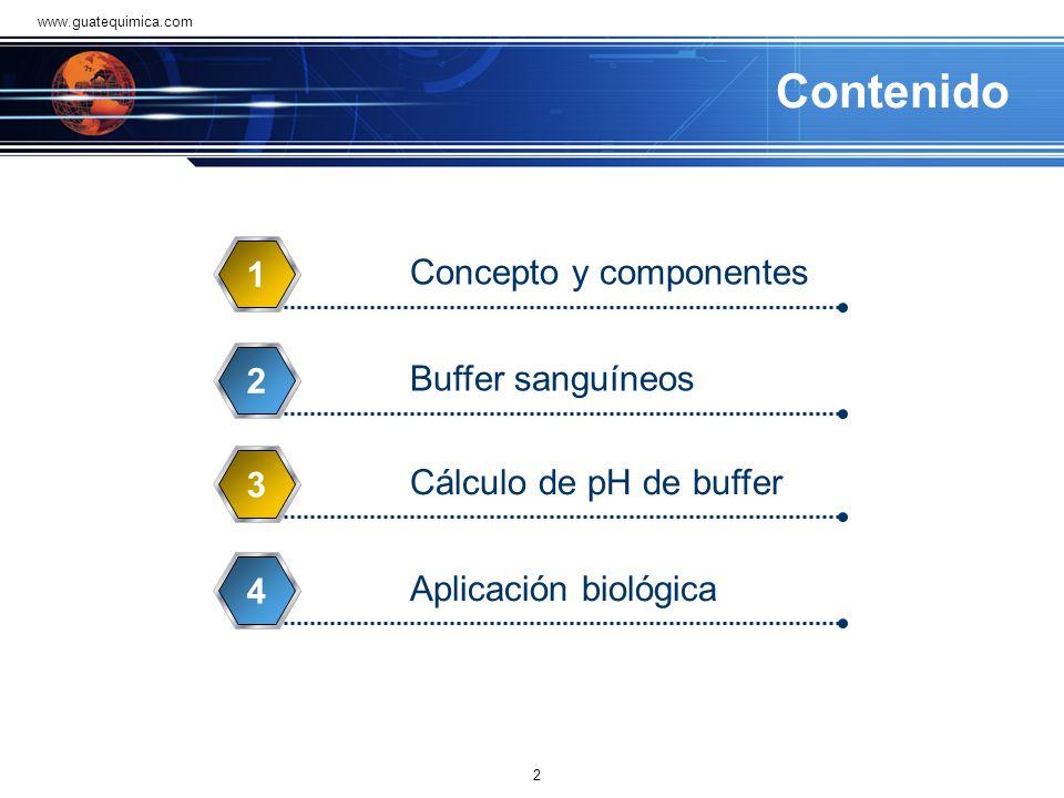 Contenido Concepto y componentes 1 Buffer sanguíneos 2 Cálculo de pH de buffer 3 Aplicación biológica 4 2 www.guatequimica.com