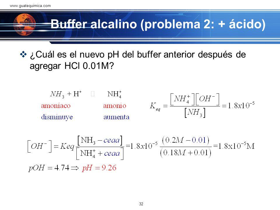 Buffer alcalino (problema 1) Cuál es el pH de un buffer de amoníaco 0.2 M y cloruro de amonio 0.18 M si la K b =1.8x10 -5 31 www.guatequimica.com