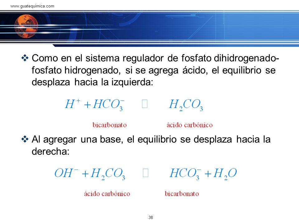 ácido carbónico-bicarbonato El sistema regulador de ácido carbónico-bicarbonato, tiene la máxima capacidad de controlar el pH de la sangre porque está
