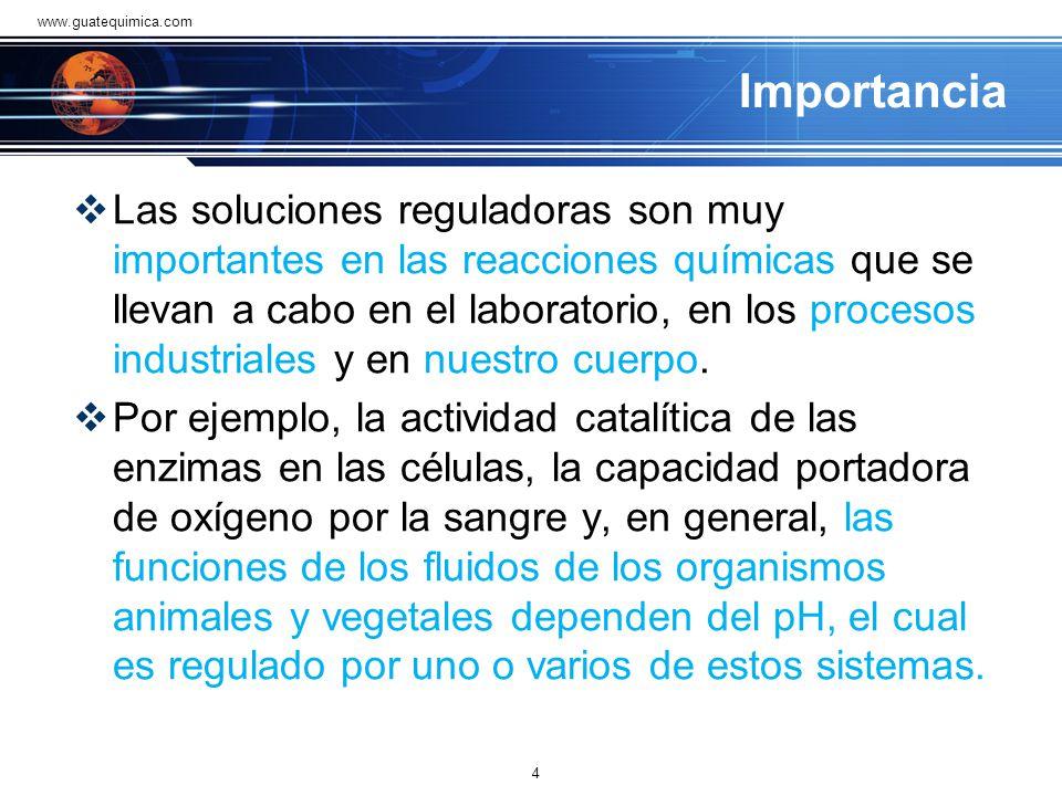 Importancia Las soluciones reguladoras son muy importantes en las reacciones químicas que se llevan a cabo en el laboratorio, en los procesos industriales y en nuestro cuerpo.