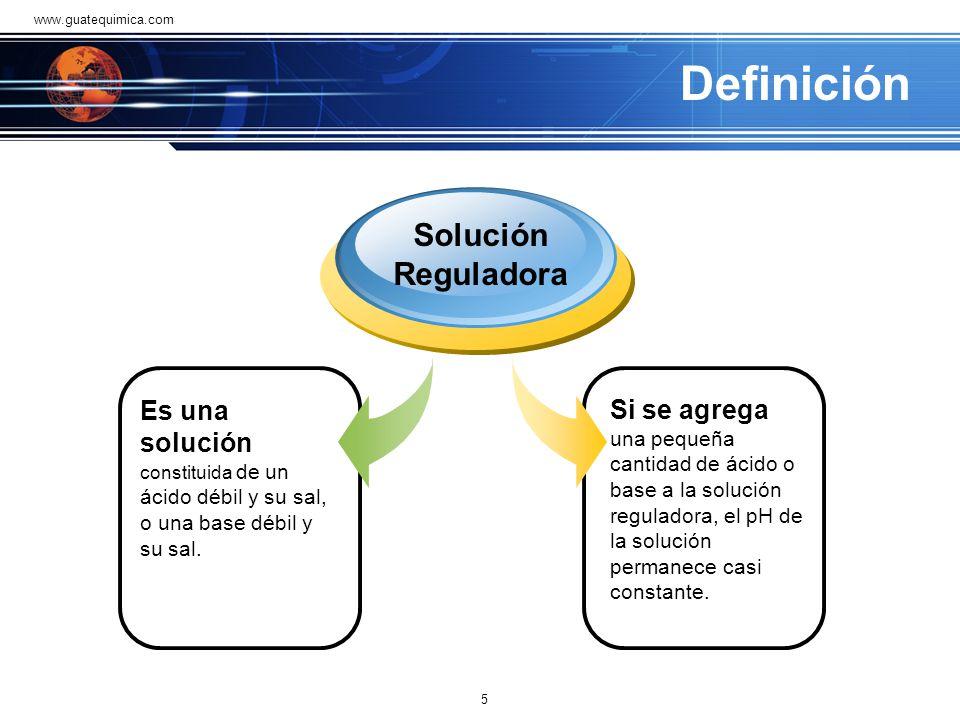 Definición Si se agrega una pequeña cantidad de ácido o base a la solución reguladora, el pH de la solución permanece casi constante.