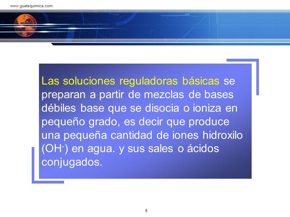 Las soluciones reguladoras básicas se preparan a partir de mezclas de bases débiles base que se disocia o ioniza en pequeño grado, es decir que produce una pequeña cantidad de iones hidroxilo (OH - ) en agua.