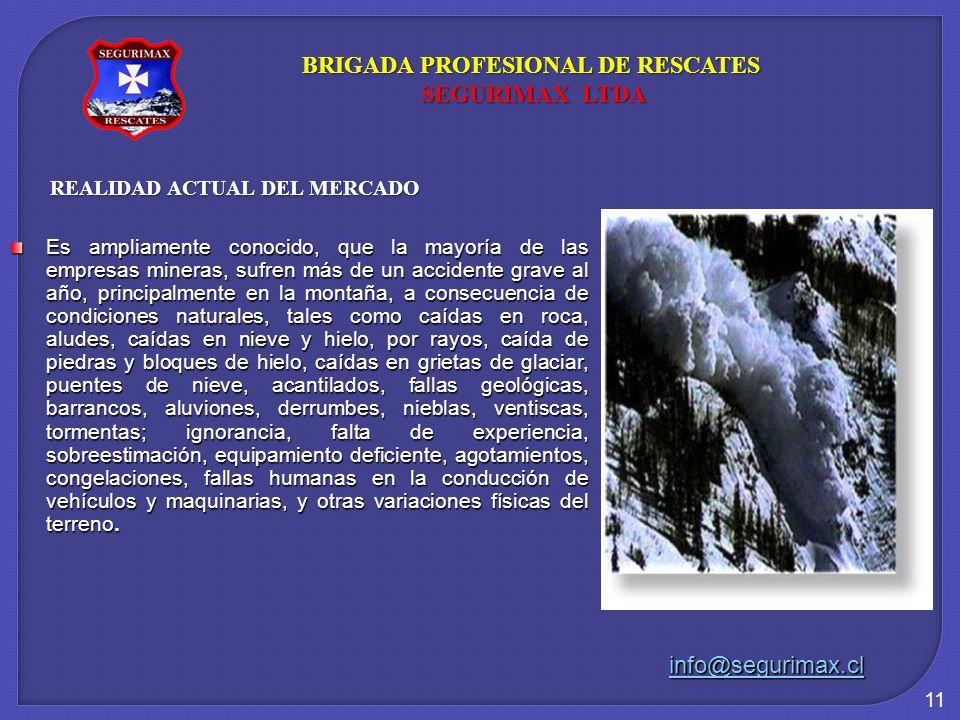 11 REALIDAD ACTUAL DEL MERCADO Es ampliamente conocido, que la mayoría de las empresas mineras, sufren más de un accidente grave al año, principalment