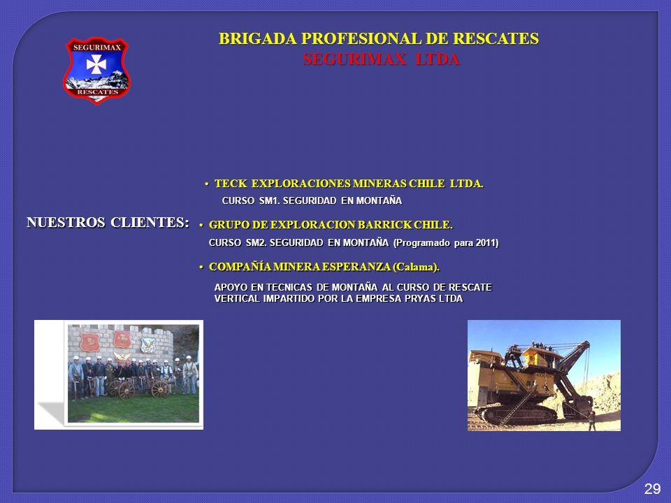29 NUESTROS CLIENTES: TECK EXPLORACIONES MINERAS CHILE LTDA. TECK EXPLORACIONES MINERAS CHILE LTDA. BRIGADA PROFESIONAL DE RESCATES SEGURIMAX LTDA SEG
