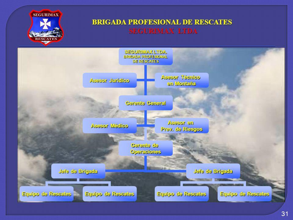 31 SEGURIMAX LTDA. BRIGADA PROFESIONAL DE RESCATES Gerente General Gerente de Operaciones Jefe de Brigada Equipo de Rescates Jefe de Brigada Equipo de