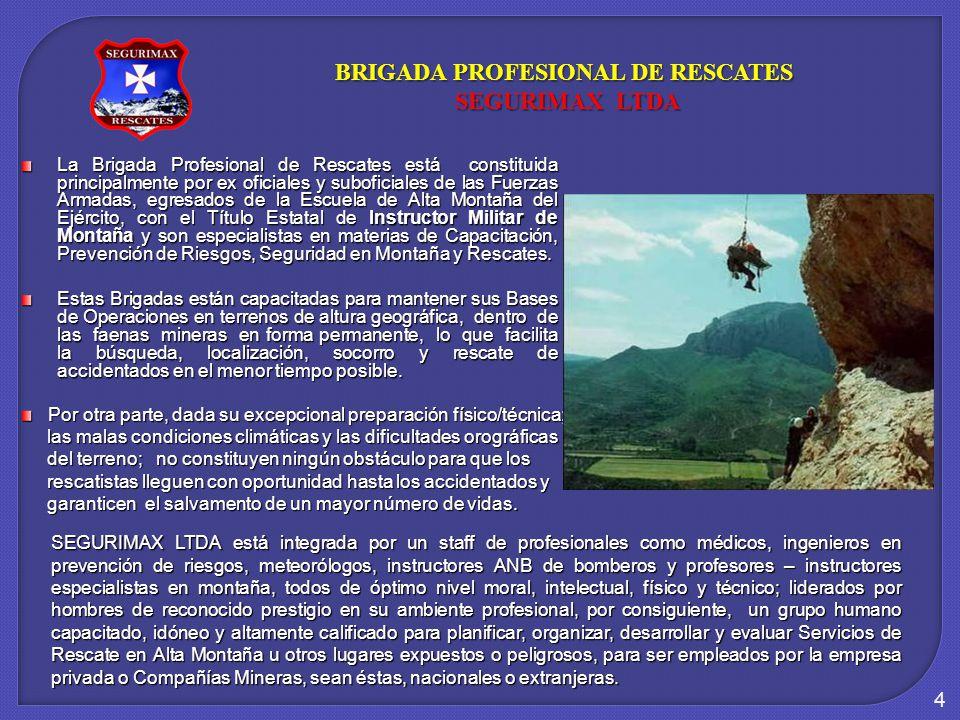 4 La Brigada Profesional de Rescates está constituida principalmente por ex oficiales y suboficiales de las Fuerzas Armadas, egresados de la Escuela de Alta Montaña del Ejército, con el Título Estatal de Instructor Militar de Montaña y son especialistas en materias de Capacitación, Prevención de Riesgos, Seguridad en Montaña y Rescates.