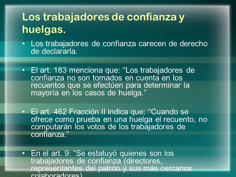 Los trabajadores de confianza y huelgas. Los trabajadores de confianza carecen de derecho de declararla. El art. 183 menciona que: Los trabajadores de