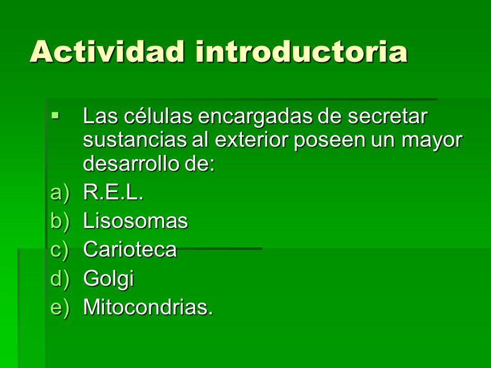 Actividad introductoria Las células encargadas de secretar sustancias al exterior poseen un mayor desarrollo de: Las células encargadas de secretar su