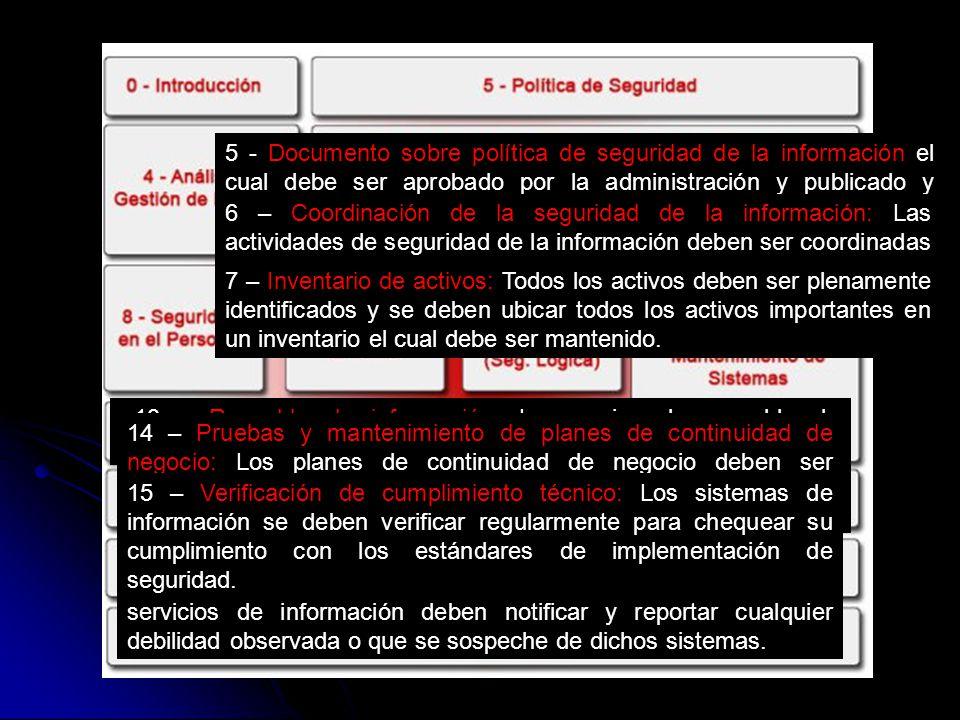 5 - Documento sobre política de seguridad de la información el cual debe ser aprobado por la administración y publicado y comunicado a todos los emple