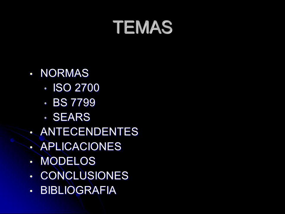TEMAS NORMAS NORMAS ISO 2700 ISO 2700 BS 7799 BS 7799 SEARS SEARS ANTECENDENTES ANTECENDENTES APLICACIONES APLICACIONES MODELOS MODELOS CONCLUSIONES CONCLUSIONES BIBLIOGRAFIA BIBLIOGRAFIA