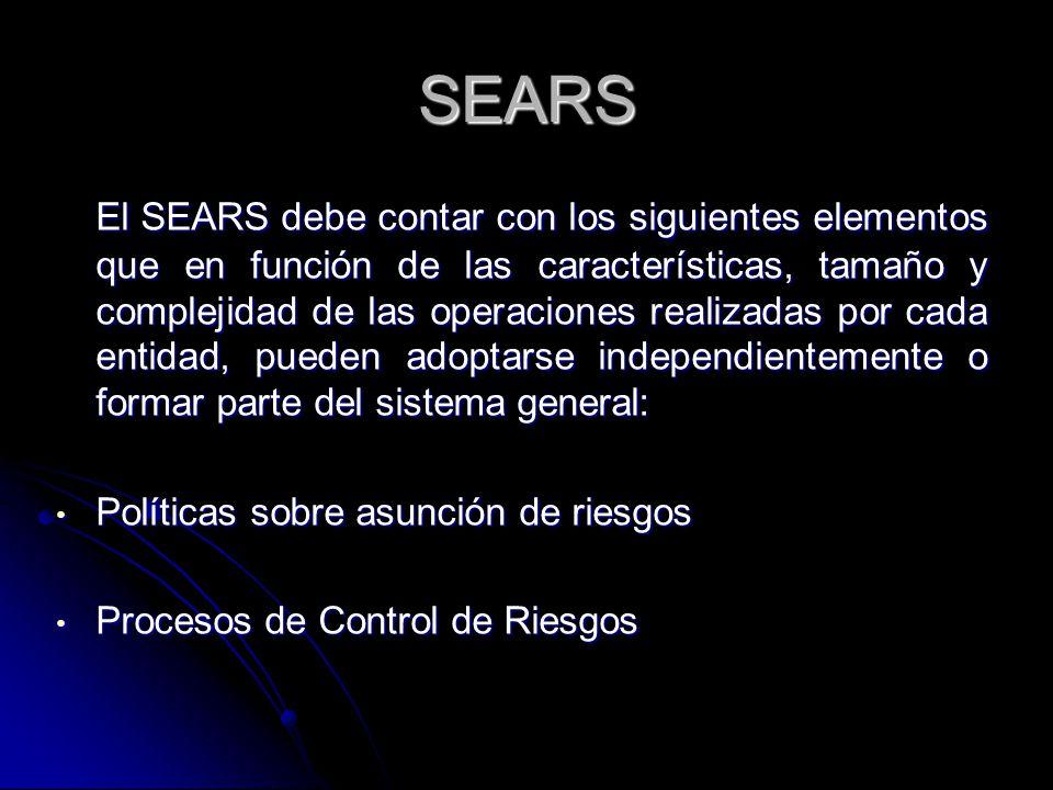 SEARS El SEARS debe contar con los siguientes elementos que en función de las características, tamaño y complejidad de las operaciones realizadas por