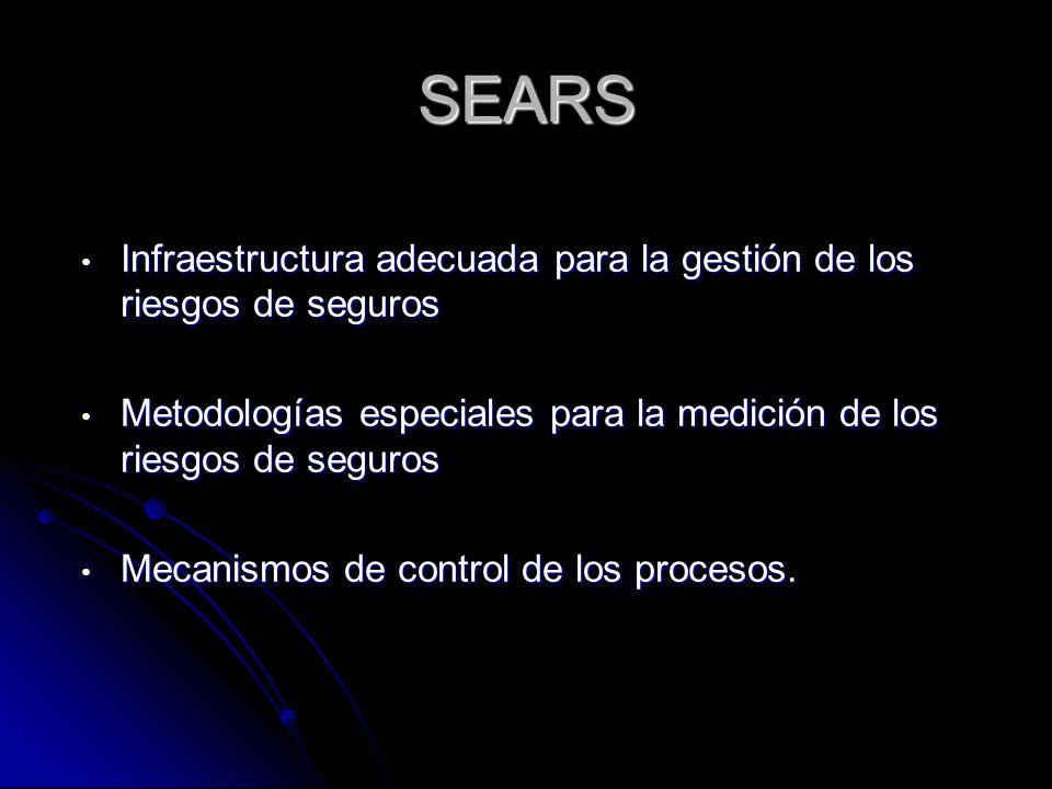 SEARS Infraestructura adecuada para la gestión de los riesgos de seguros Infraestructura adecuada para la gestión de los riesgos de seguros Metodologías especiales para la medición de los riesgos de seguros Metodologías especiales para la medición de los riesgos de seguros Mecanismos de control de los procesos.