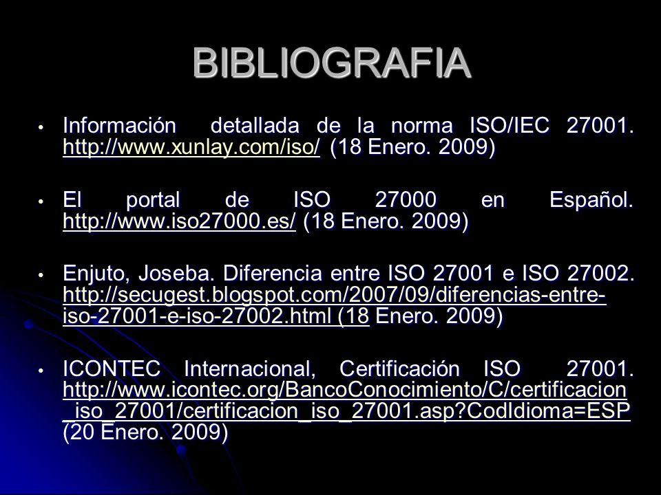 BIBLIOGRAFIA Información detallada de la norma ISO/IEC 27001. http:/// (18 Enero. 2009) Información detallada de la norma ISO/IEC 27001. http://www.xu