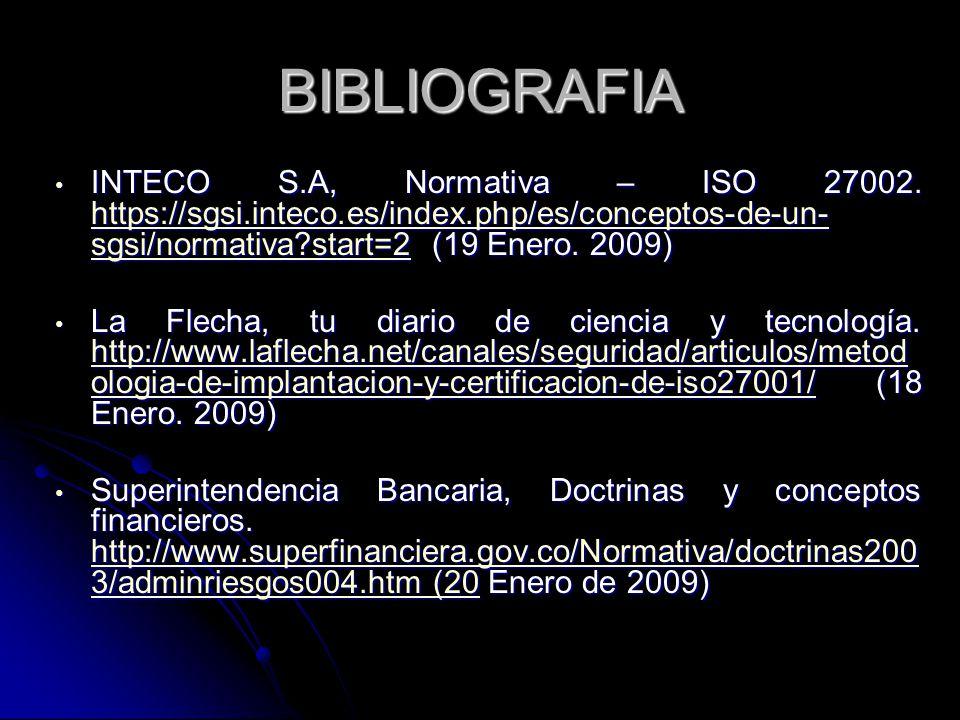 BIBLIOGRAFIA INTECO S.A, Normativa – ISO 27002. https://sgsi.inteco.es/index.php/es/conceptos-de-un- sgsi/normativa?start=2 (19 Enero. 2009) INTECO S.