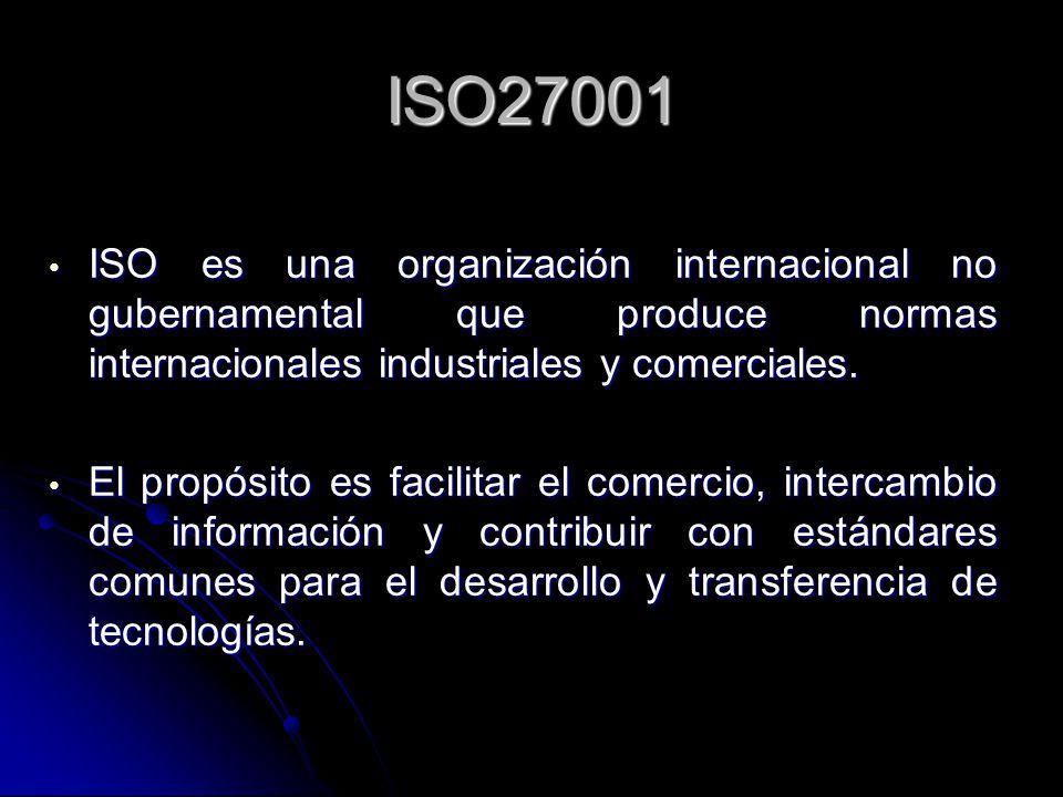 ISO27001 ISO es una organización internacional no gubernamental que produce normas internacionales industriales y comerciales. ISO es una organización