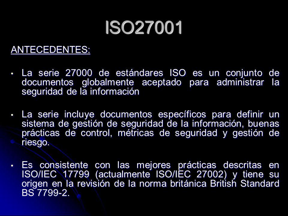 ISO27001 ANTECEDENTES: La serie 27000 de estándares ISO es un conjunto de documentos globalmente aceptado para administrar la seguridad de la informac