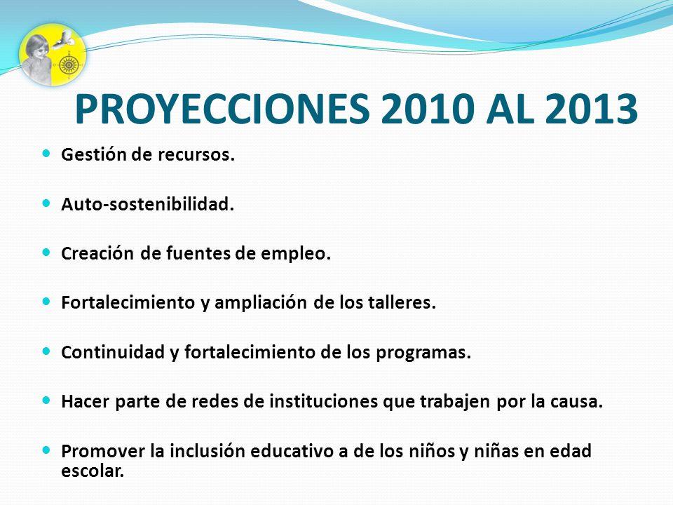 PROYECCIONES 2010 AL 2013 Gestión de recursos. Auto-sostenibilidad. Creación de fuentes de empleo. Fortalecimiento y ampliación de los talleres. Conti
