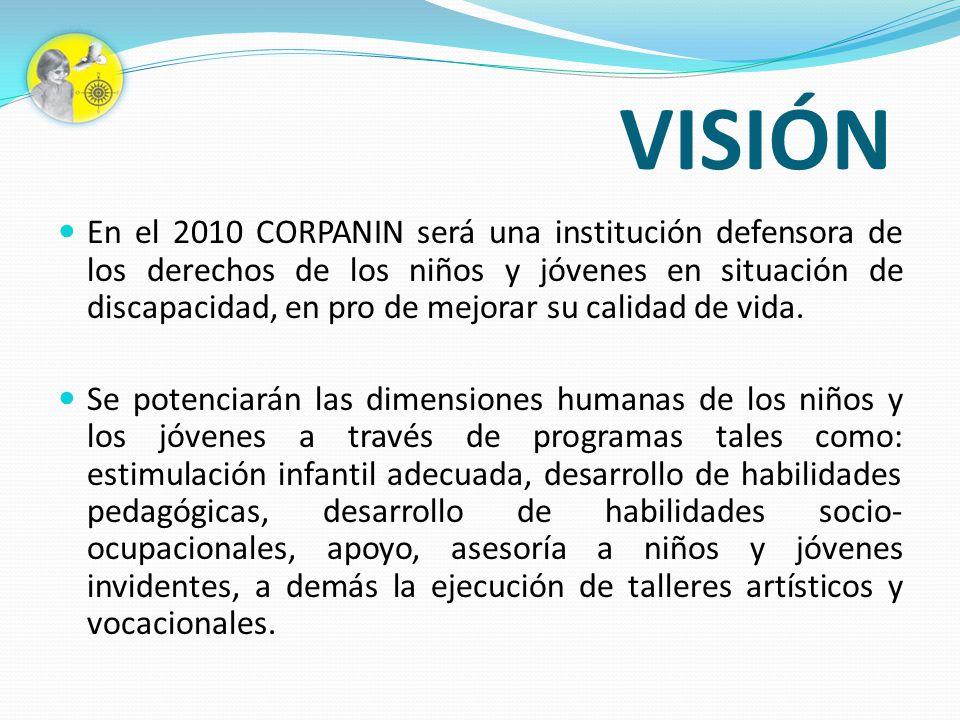 VISIÓN En el 2010 CORPANIN será una institución defensora de los derechos de los niños y jóvenes en situación de discapacidad, en pro de mejorar su ca