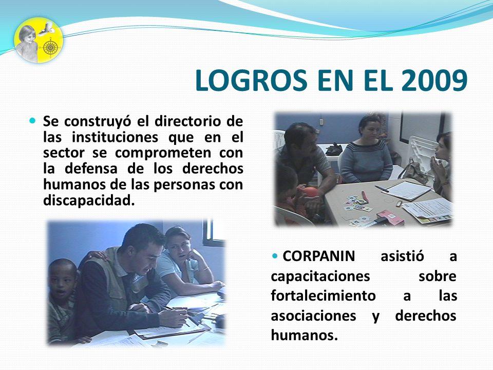 LOGROS EN EL 2009 Se construyó el directorio de las instituciones que en el sector se comprometen con la defensa de los derechos humanos de las person