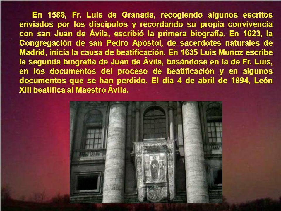 La iglesia de la Compañía de Montilla, donde descansan sus restos, y la pequeña casa donde vivió sus últimos años san Juan de Ávila, son centros de continuo peregrinar de obispos, sacerdotes y fieles de toda España.