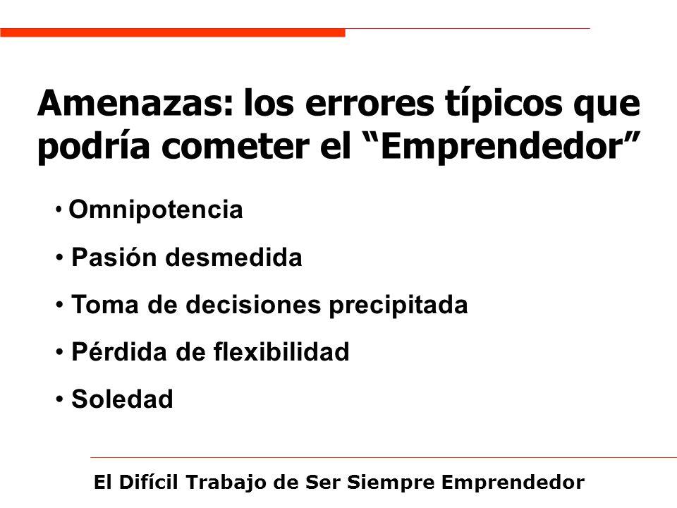 El Difícil Trabajo de Ser Siempre Emprendedor Amenazas: los errores típicos que podría cometer el Emprendedor Omnipotencia Pasión desmedida Toma de de
