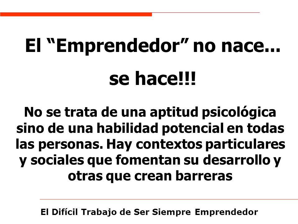 El Difícil Trabajo de Ser Siempre Emprendedor El Emprendedor no nace... se hace!!! No se trata de una aptitud psicológica sino de una habilidad potenc
