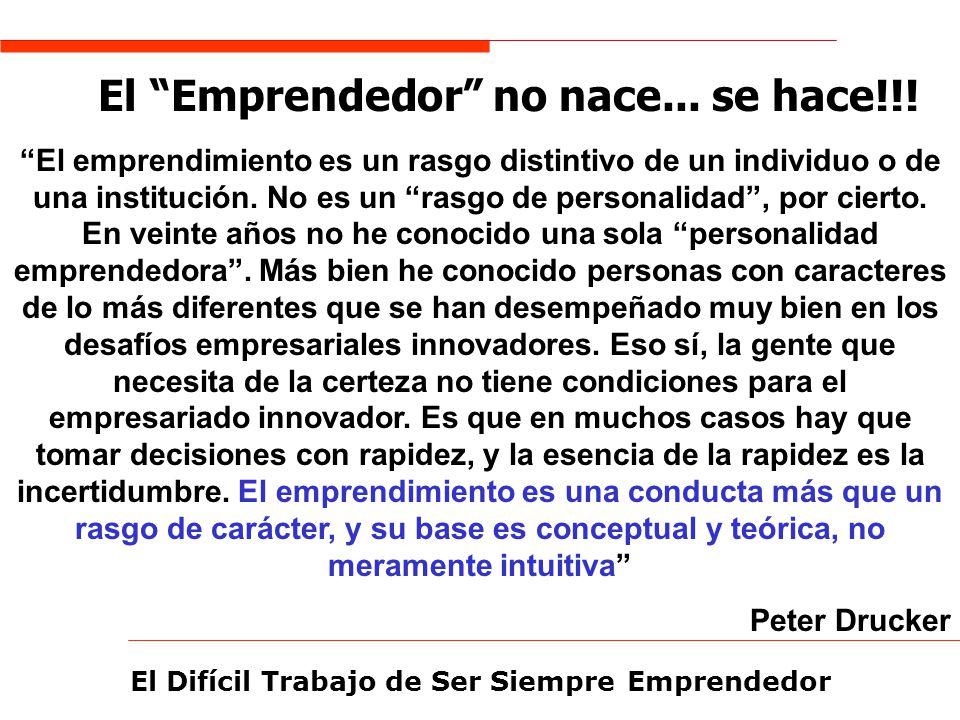 El Difícil Trabajo de Ser Siempre Emprendedor El Emprendedor no nace... se hace!!! El emprendimiento es un rasgo distintivo de un individuo o de una i