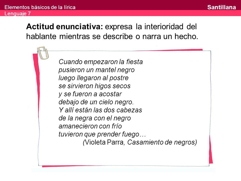 Elementos básicos de la lírica Lenguaje 7 Santillana Actitud enunciativa: expresa la interioridad del hablante mientras se describe o narra un hecho.